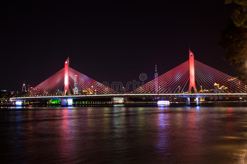 A bridge in Guangzhou, China. It`s called the Hai Hai bridge. It`s a night view. A bridge Chinese in Guangzhou City, called Haiyin bridge. Located in Guangdong royalty free stock photos