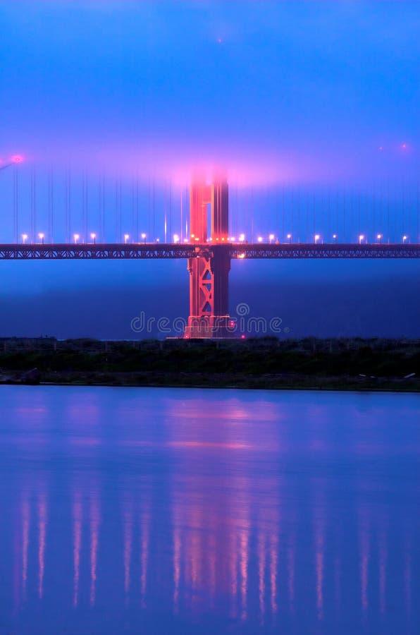 bridge guld- under för skymningdimmaport royaltyfri foto