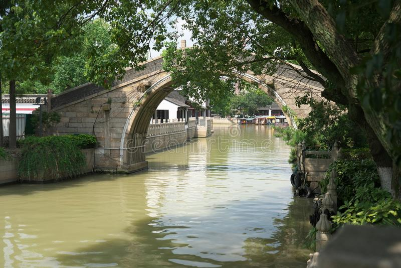 A bridge of Hanshan Temple in Suzhou, China. Suzhou,China-September 14, 2019: A bridge of Hanshan Temple in Suzhou, China stock photos