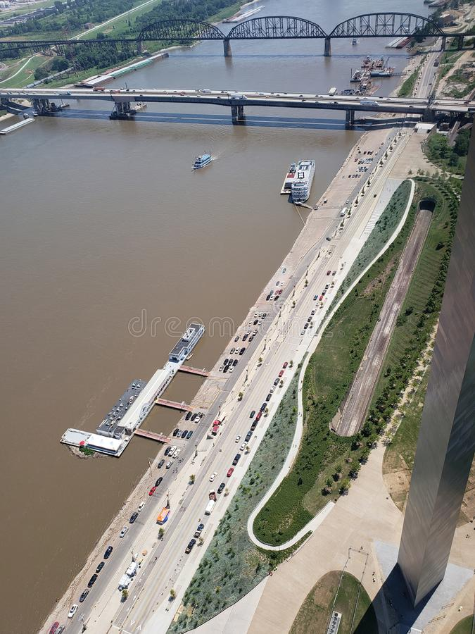 Bridge has seen from Gateway Arch top ST Louis stock photography