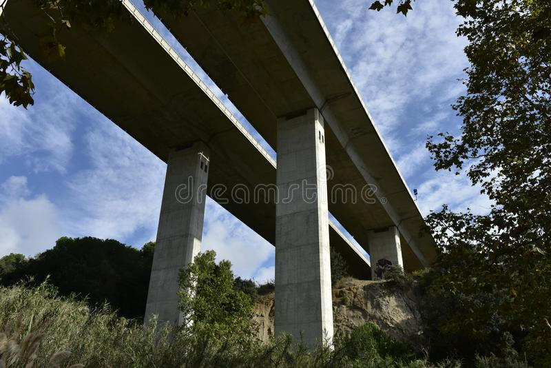 Bridge of Highway  C-37 to Barcelona, Spain royalty free stock images