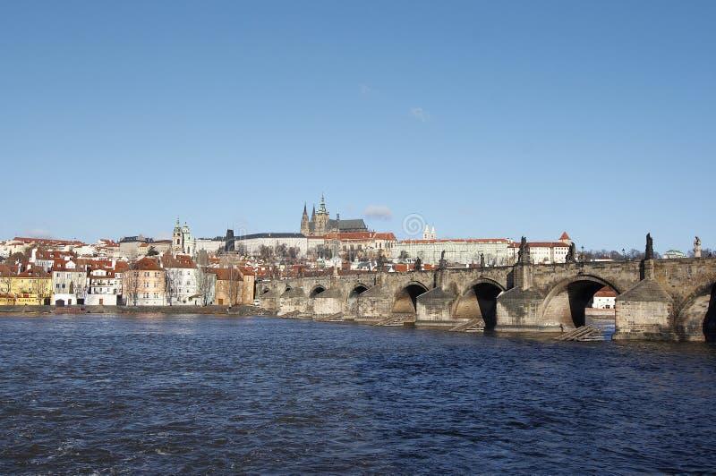bridge hradcany charles royaltyfria bilder