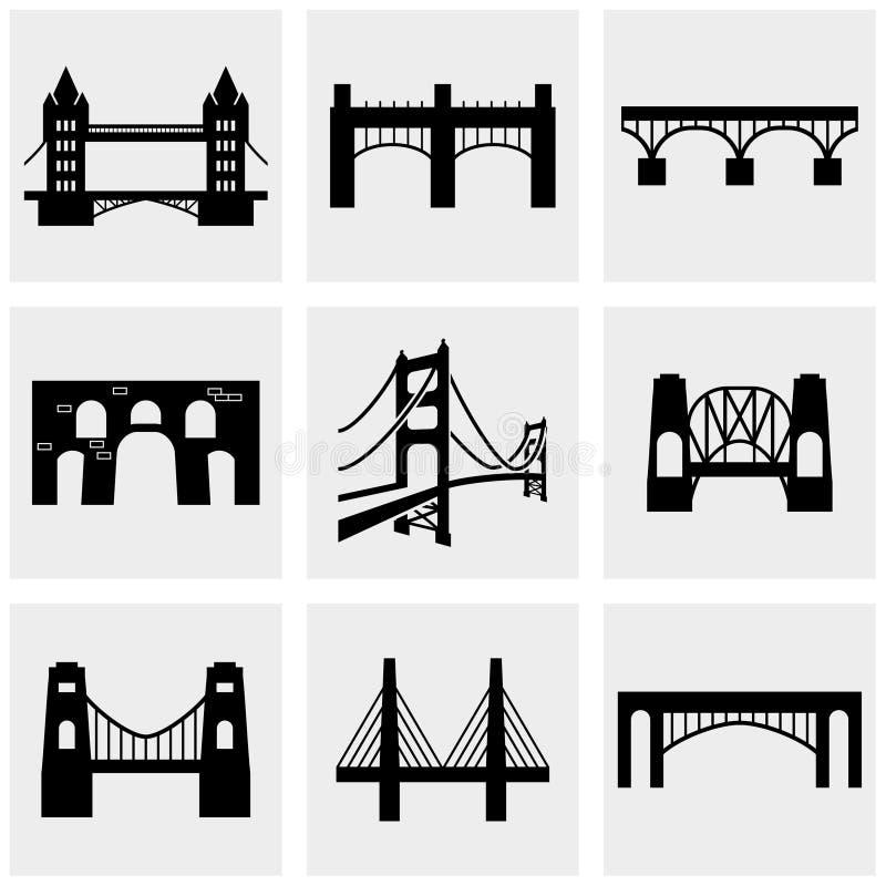 Bridge icons set on gray vector illustration