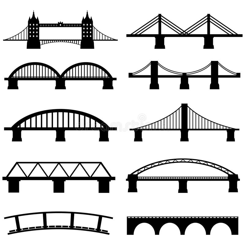 Bridge Icons Set stock illustration