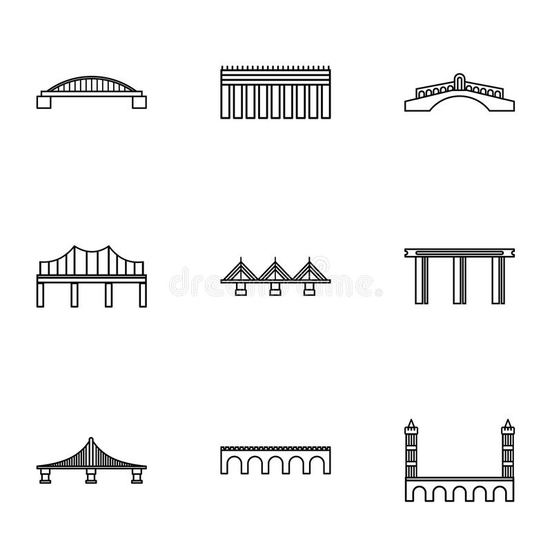 Bridge icons set, outline style vector illustration