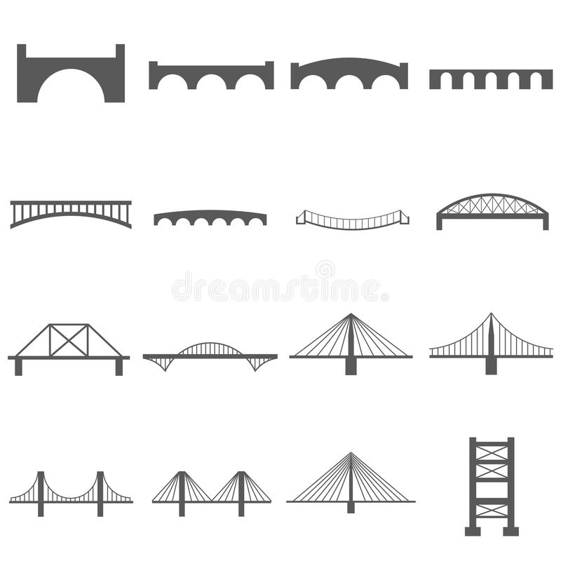 Bridge Icons Set vector illustration