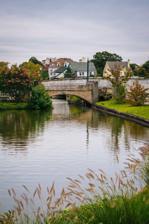 Bridge and island in Sunset Lake, Asbury Park, New Jersey royalty free stock photo