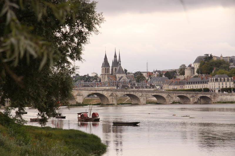 Bridge Jacques-Anzha Gabriel in Blois. France stock photo