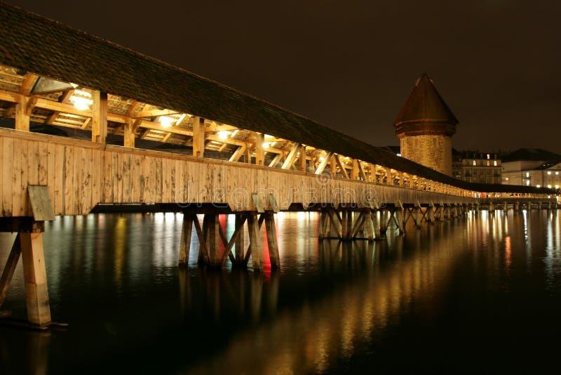bridge kapell luzern switzerland fotografering för bildbyråer