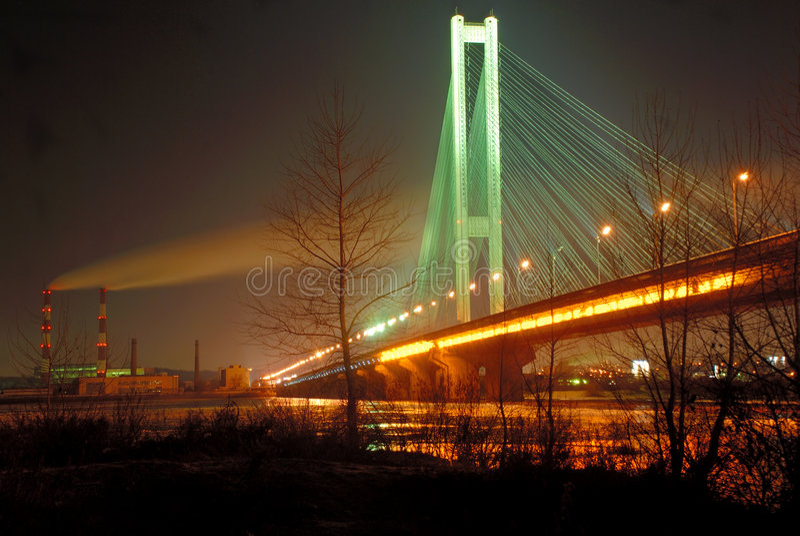 bridge kiev night south ua στοκ εικόνα με δικαίωμα ελεύθερης χρήσης
