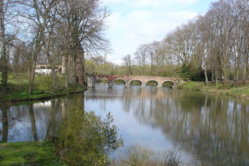 Bridge on the lake stock image