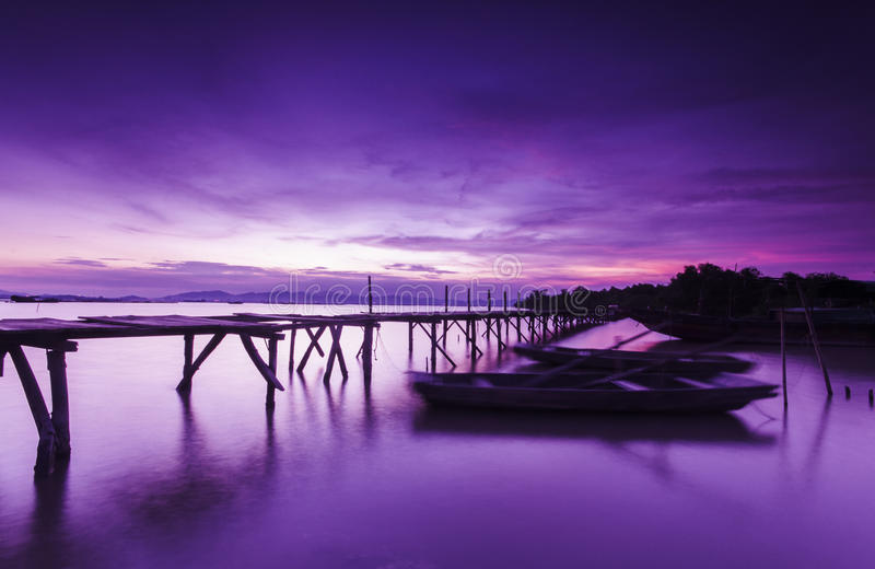 Bridge and lakes in night sky. Bridge, boats and lakes make a beautilful and peaceful picture stock photo