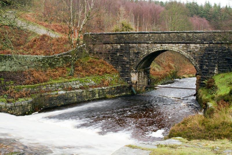 The bridge at langsett reservoir stock photo