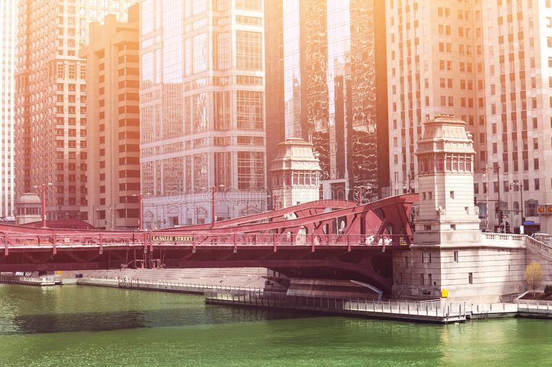Bridge on LaSalle blvd over river in Chicago stock images