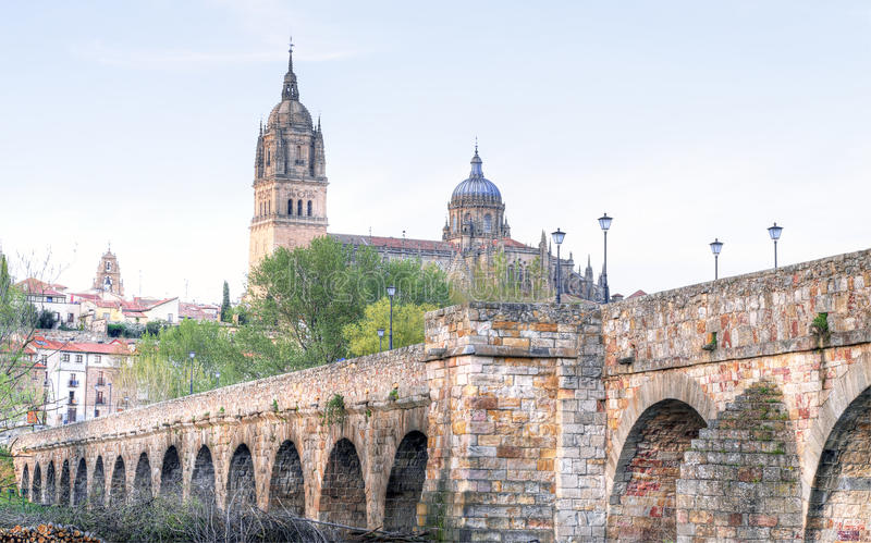 Bridge leading to the Cathedral in Salamanca royalty free stock images