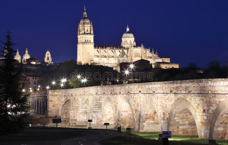 Bridge leading to the Cathedral in Salamanca stock images