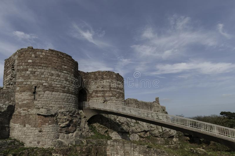 Bridge leading to the ruins of Beeston Castle stock photography