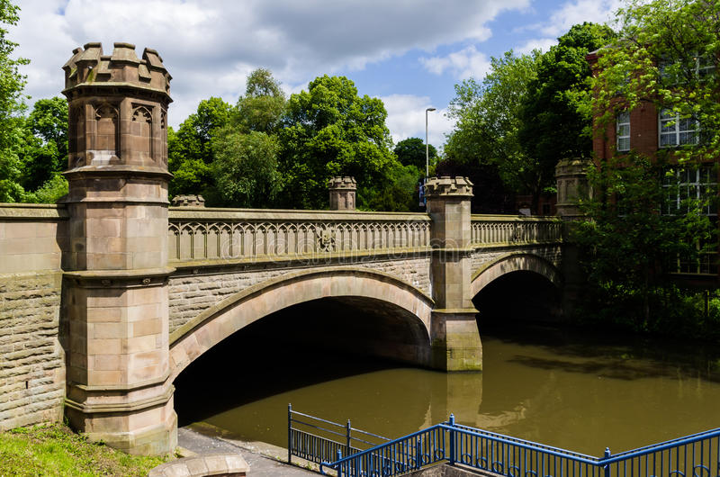 Bridge in Leicester. Old brick medieval bridge in Leicester, England stock photography