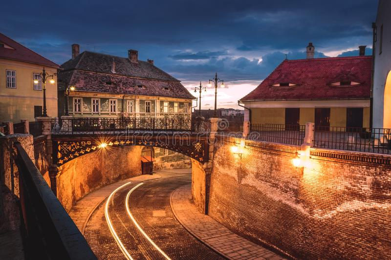 The Bridge of Lies at sunset in Sibiu, Romania royalty free stock photography