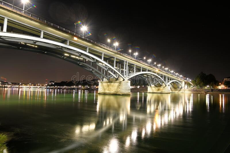 Bridge with lights stock photography