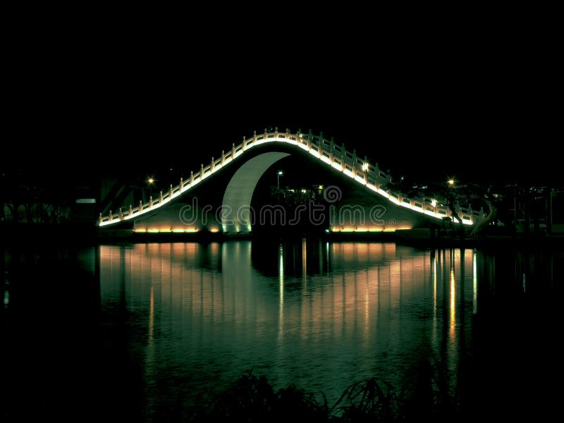 Bridge With Lights during Nightime royalty free stock photos