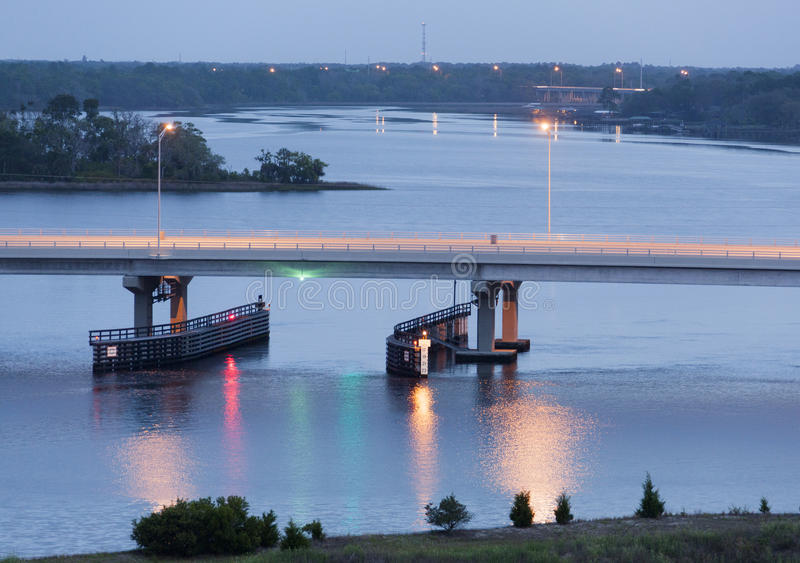 Bridge Lights. The view of a bridge with lights before the sunrise in Jacksonville (Florida royalty free stock photos