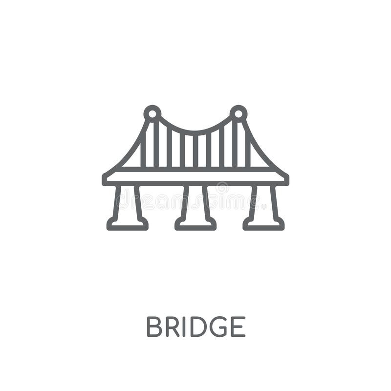 Bridge linear icon. Modern outline Bridge logo concept on white. Background from Architecture and Travel collection. Suitable for use on web apps, mobile apps royalty free illustration