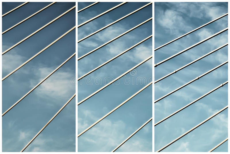 Bridge lines. Collage abstrac bridge lines under a cloudy sky royalty free stock photo