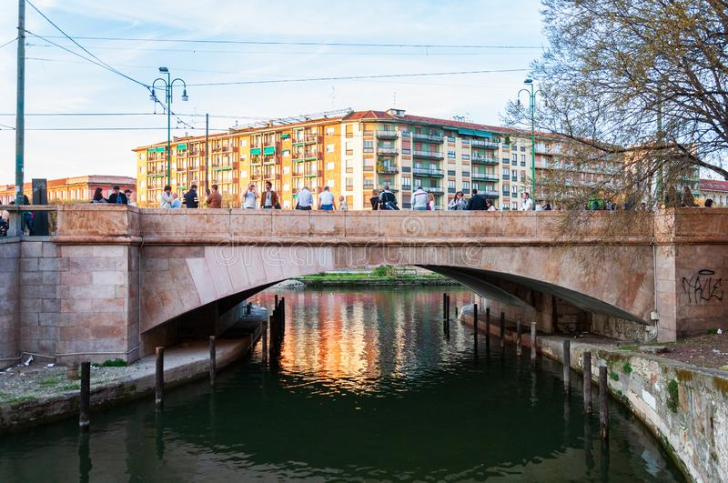 Bridge linking the Darsena with the Grande canal in Milan, Italy royalty free stock images