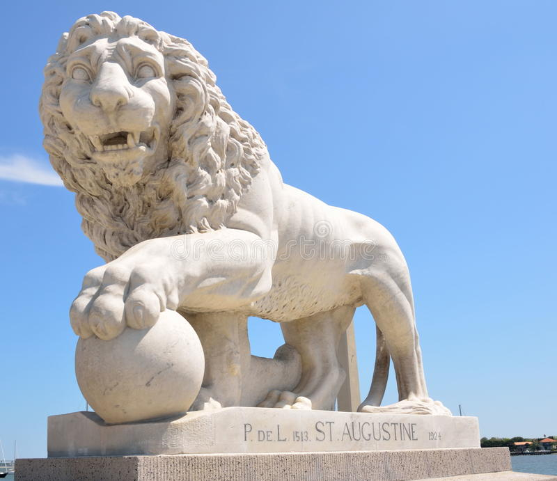 Bridge of Lions in St Augustine. A Medici lion on the Bridge of Lions historic St. Augustine, Florida stock photography