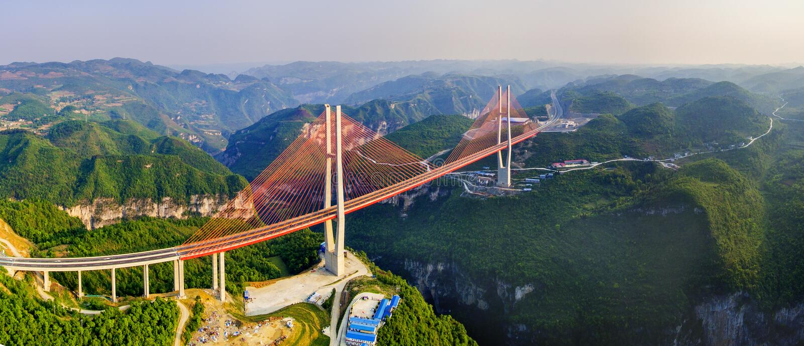 Bridge Liuguang of Guizhou. The bridge is located in Liuguang river of Guizhou province,China.the bridge is high 375 meters from the river surface, span of 580 stock photo