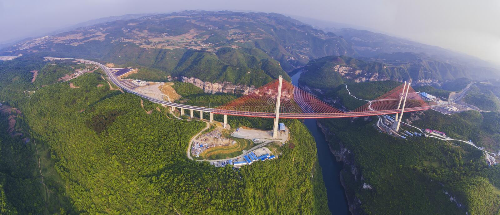 Bridge Liuguang of Guizhou. The bridge is located in Liuguang river of Guizhou province,China.the bridge is high 375 meters from the river surface, span of 580 stock images