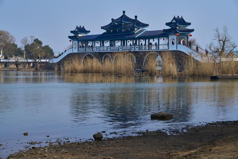Chinese-style traditional bridge stock photos