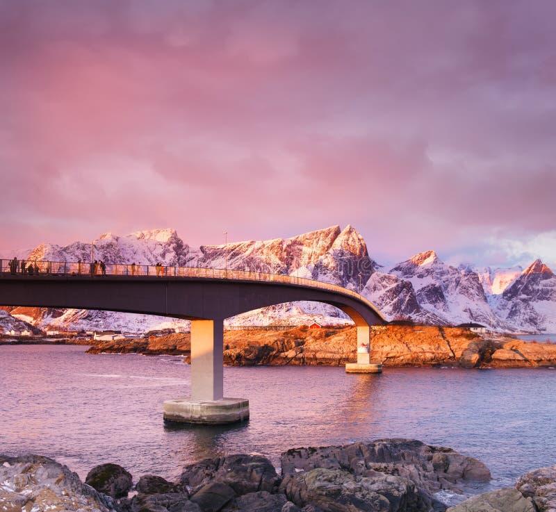 Bridge on the Lofoten islands, Norway. Beautiful natural landscape during sunrise. stock photography