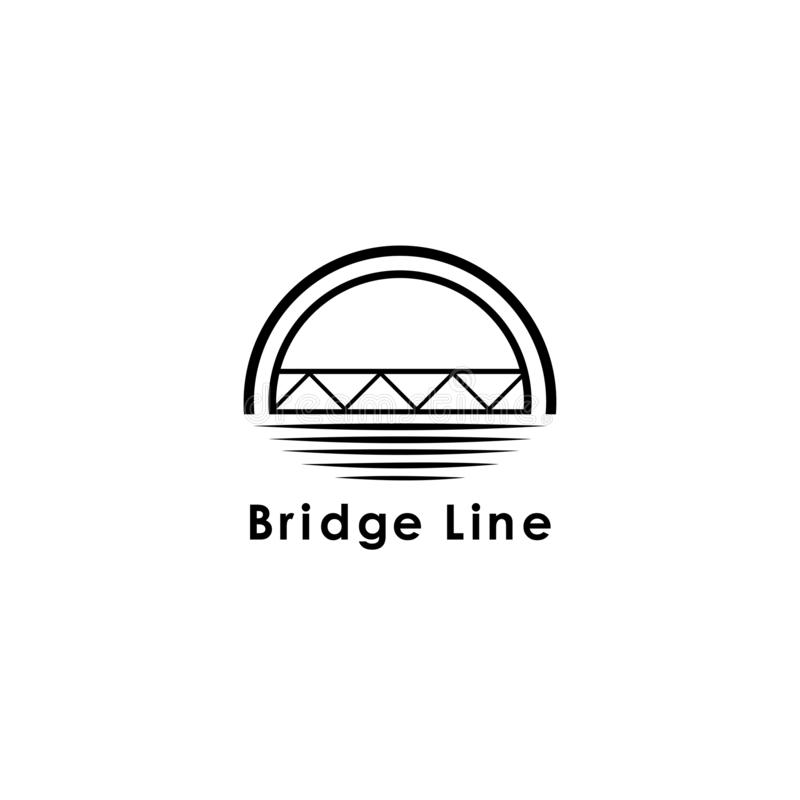 Bridge logo template, design vector icon illustration. Abstract, symbol, graphic, modern, identity, concept, background, business, travel, art, construction stock illustration