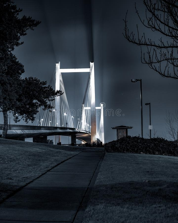 Bridge. Longexposure night light royalty free stock photos