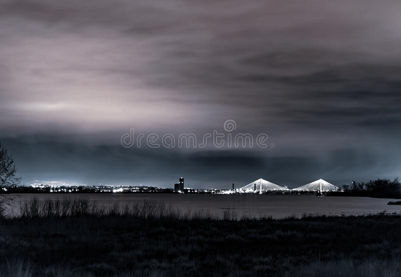 Bridge. Longexposure night light stock photos