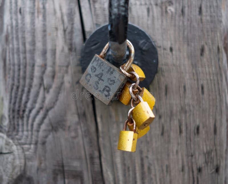 Bridge love locks stock photos
