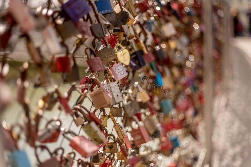 Bridge of love salzburg austria locks couple Valentine's stock photo