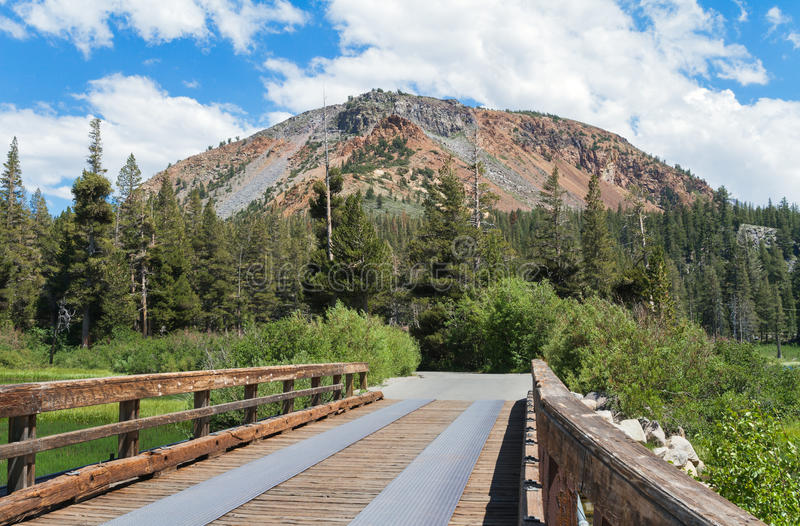 Bridge at Mammoth Lakes. Area, Inyo National Forest Park, California, USA royalty free stock image
