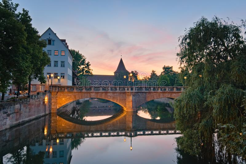 Bridge (Maxbrücke) in Nuremberg at night stock image