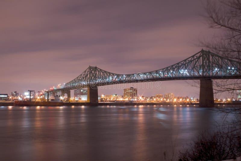 bridge mer cartier jacques montreal natt fotografering för bildbyråer