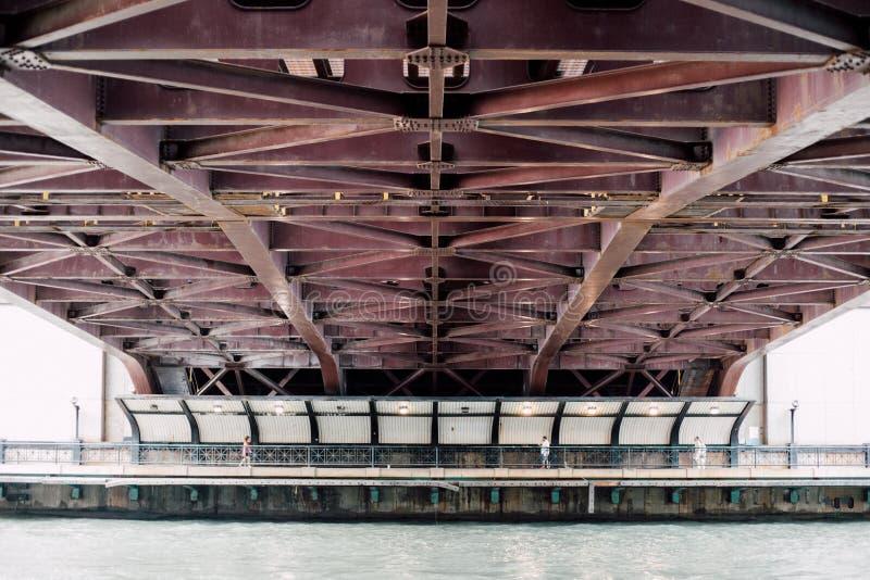 Bridge, Metal, Ocean stock photo
