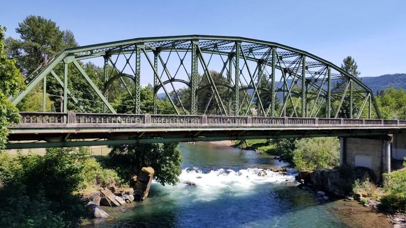 Bridge in Mill City Oregon stock photo
