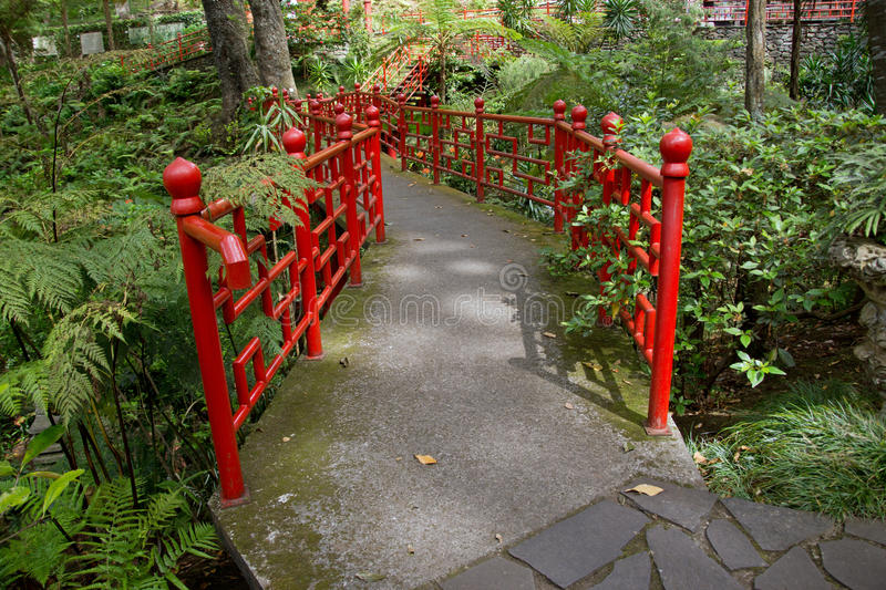 Bridge in the Monte Palace Tropical Garden royalty free stock image