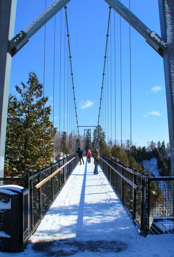 Bridge at The Montmorency Falls in Quebec City, Canada royalty free stock photo