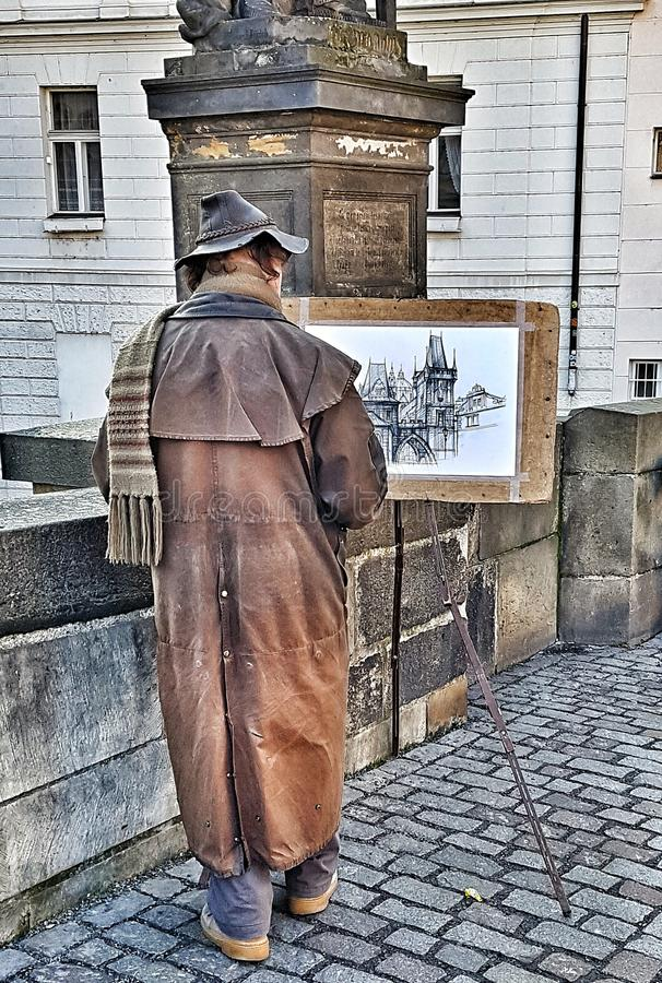 Prague Painter, Paint, Draw, Paper, Building, Street Painter, Art royalty free stock photo