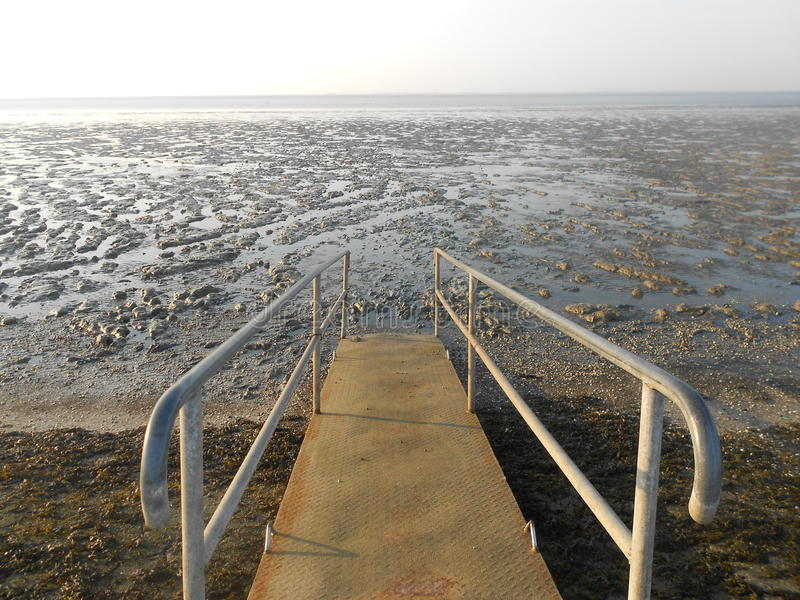 Bridge in the mudflat. With water stock photography