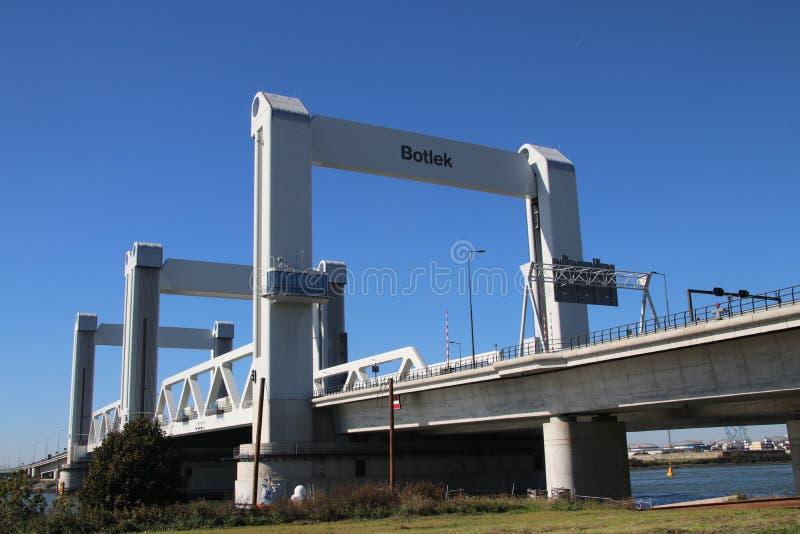 Bridge named Botlekbrug on motorway A15 in the Botlek harbor in Rotterdam, The Netherlands royalty free stock image