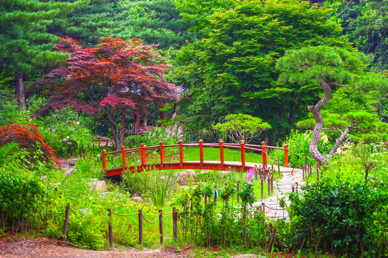 A bridge at Nami Island royalty free stock image